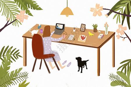 工作学习中的女孩图片