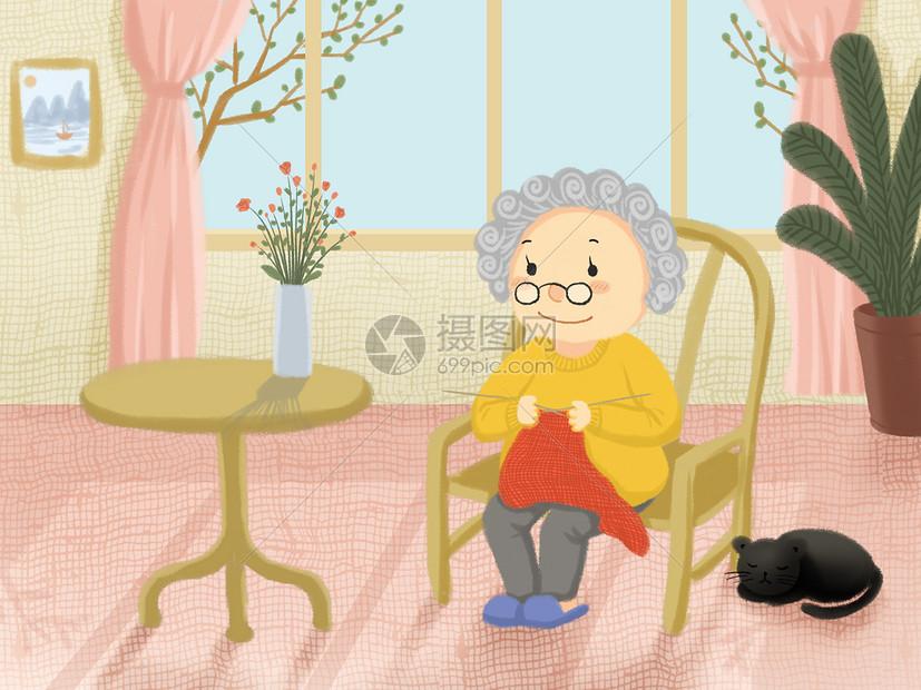 织毛衣的老奶奶图片