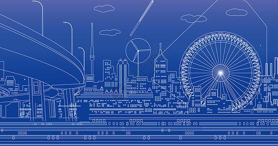 科技城市线条背景图片
