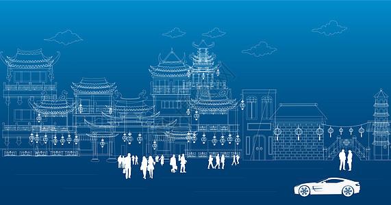 中国古建筑背景图片