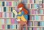 读书日·坐在高凳上认真看书的女孩图片