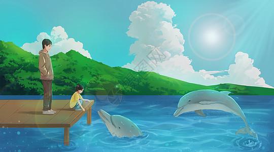 父女海边看海豚图片