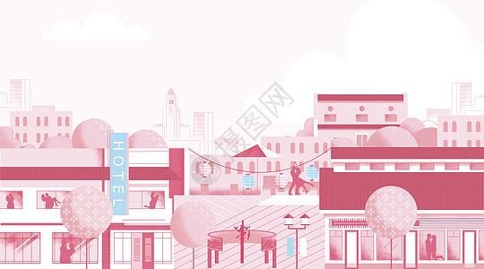 粉色街景图片