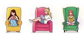 沙发上看书的女孩图片