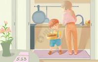 母亲节和妈妈一起做饭图片