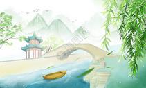 中国风插画背景图图片