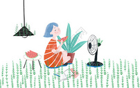 夏日吃西瓜小清新插画图片