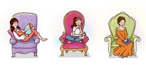 沙发上看书图片