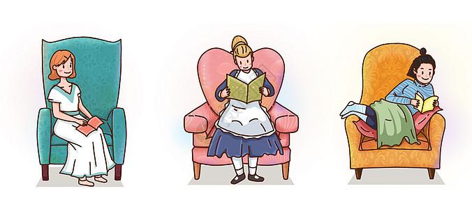 在沙发上看书图片