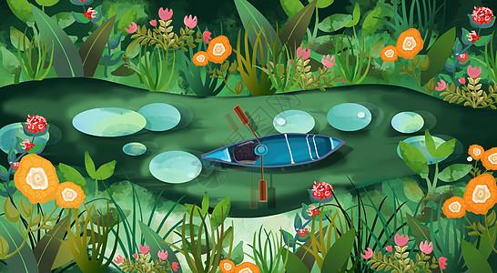 花丛中划船的小孩儿图片