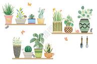 水彩植物盆栽图片