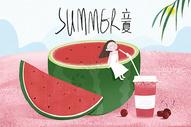 立夏冷饮西瓜汁背景图片