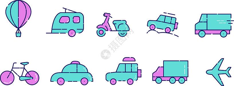 交通工具插画小图标图片