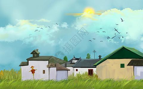 民居唯美插画图片