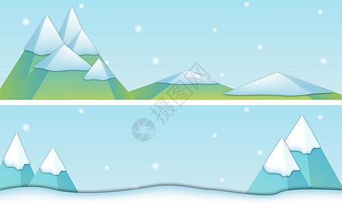 雪山几何插画图片