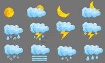 低多边形天气图标图片