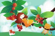 樱桃树上玩耍的女孩与猫图片
