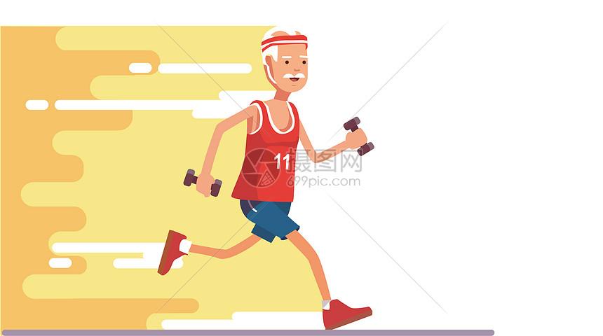 老人跑步小场景图片