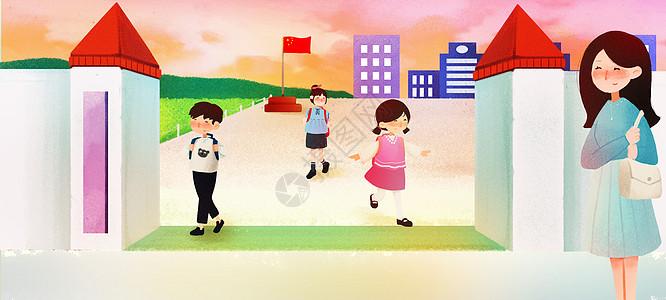 放学后的小学生图片