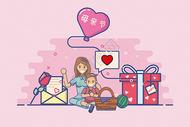 母亲节扁平插画图片