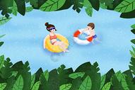 夏天游泳图片