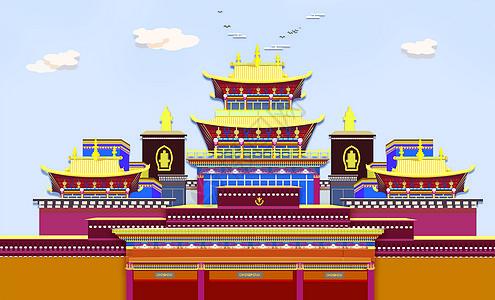 藏族建筑扁平化插画图片