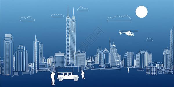 城市线条场景图片