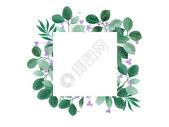 水彩叶子装饰框图片