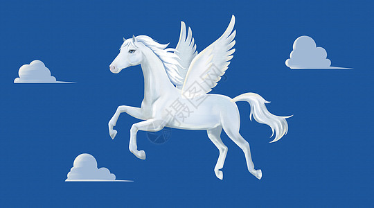 卡通创意蓝天白色飞马插画图片