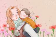母亲节母亲背孩子插画背景图图片