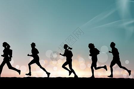青年跑步背景图片