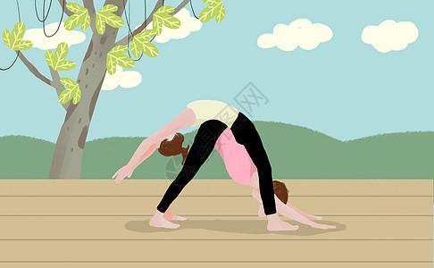 双人瑜伽健身图片