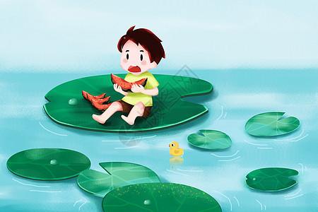 夏日荷叶上吃西瓜图片
