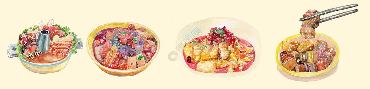 手绘水彩之家常菜图片