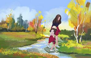母女出游图片