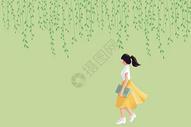 花藤下看书的女孩图片
