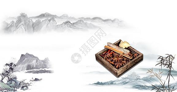 中国风水墨养生背景图片