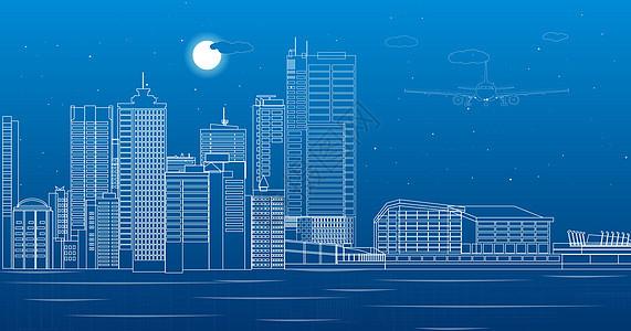 城市海面建筑线条图片