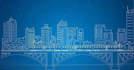 火车城市线条图片