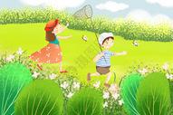 夏天孩子们捕蝴蝶图片