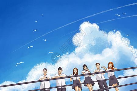 毕业季卡通蓝色天空背景图片