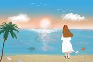 夏日海边看日落的女孩图片