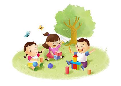 儿童堆积木高清图片
