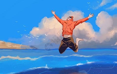 海边跳跃的青年图片