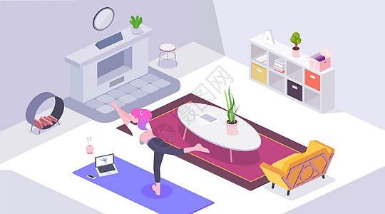 居家生活练瑜伽的女孩立体轴测图插画图片
