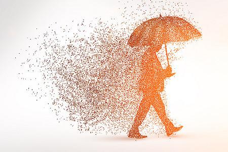 雨中的商人剪影粒子图片