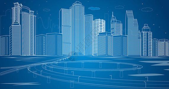 城市都市立交桥线条图片