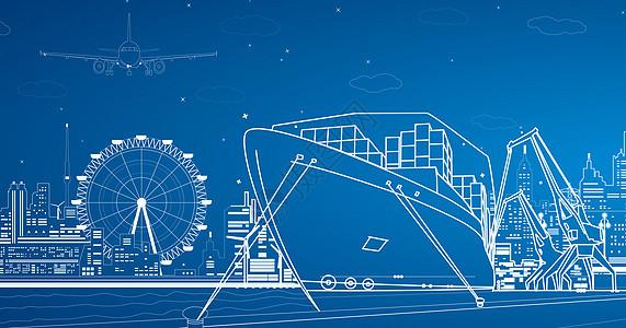 城市海港线条图片