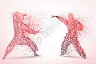 创意中国武术剪影图片