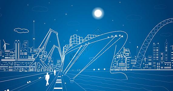 繁忙的港口线条图片